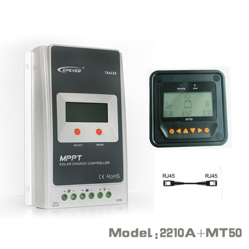 Tracer 2210A EPsloar 20A MPPT Solar Charge Controller 12V 24V LCD With MT50 meter