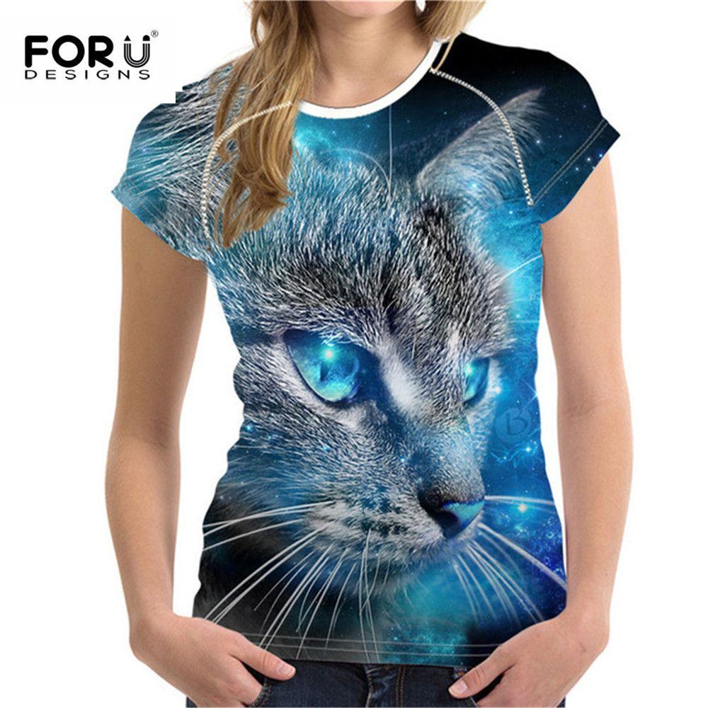 FORUDESIGNS grande taille S-XXL femmes été T-Shirt 3D imprimé T-Shirt pour dames mode femme T-Shirt hauts dessin animé motif de chat