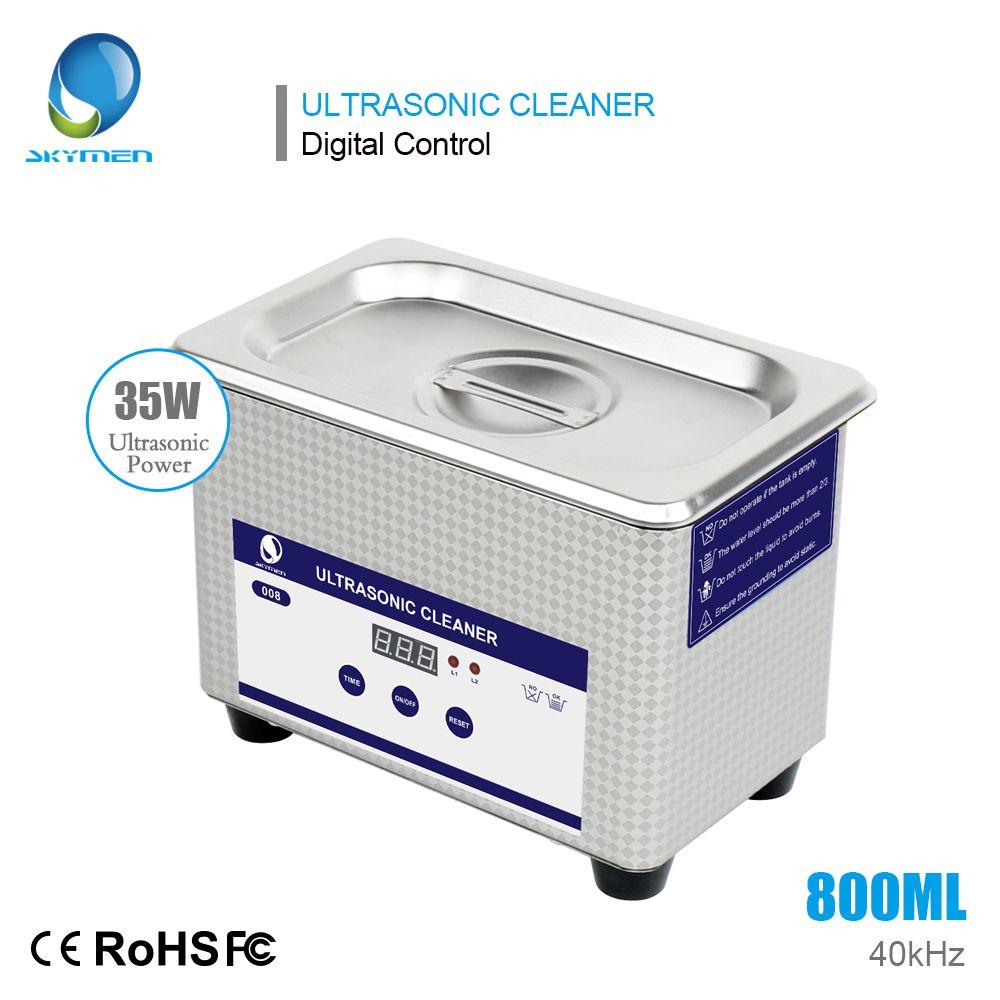 SKYMEN ultrasonic bath 0.8L digital ultrasonic cleaner for dental watch jewelry with metal basket free shipping from Russia