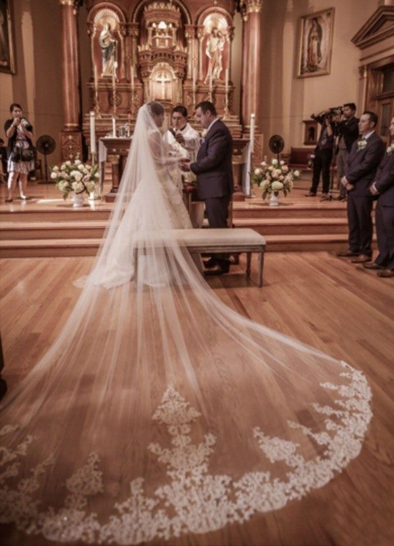 2019 nouveau 4 mètres une couche dentelle Tulle Long mariage voile nouveau blanc ivoire 4 M voile De mariée avec peigne Velos De Novia 400CM