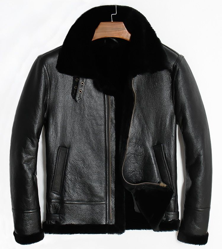 Free shipping,winter Sheep fur coat,motor wool Shearling,man's warm leather jacket,mens sheepskin coat.plus size black jackets.