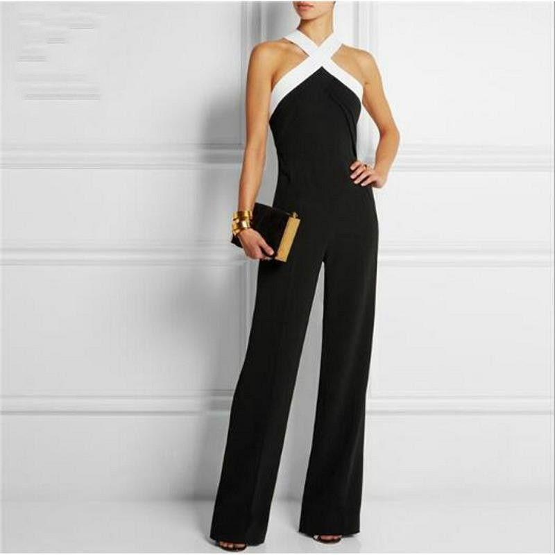 Halter <font><b>Neck</b></font> Elegant Sexy Jumpsuits Ladies Loose Slim Casual Overalls Long Pants Women Sleeveless Night Club Romper top quality