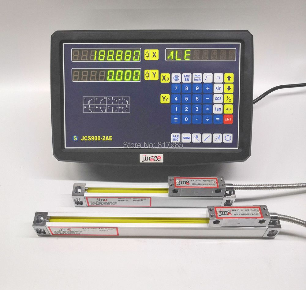 2 Axis digital readout dro with high precision Sino linear scale / slim linear encoder / linear ruler for milling lathe machine