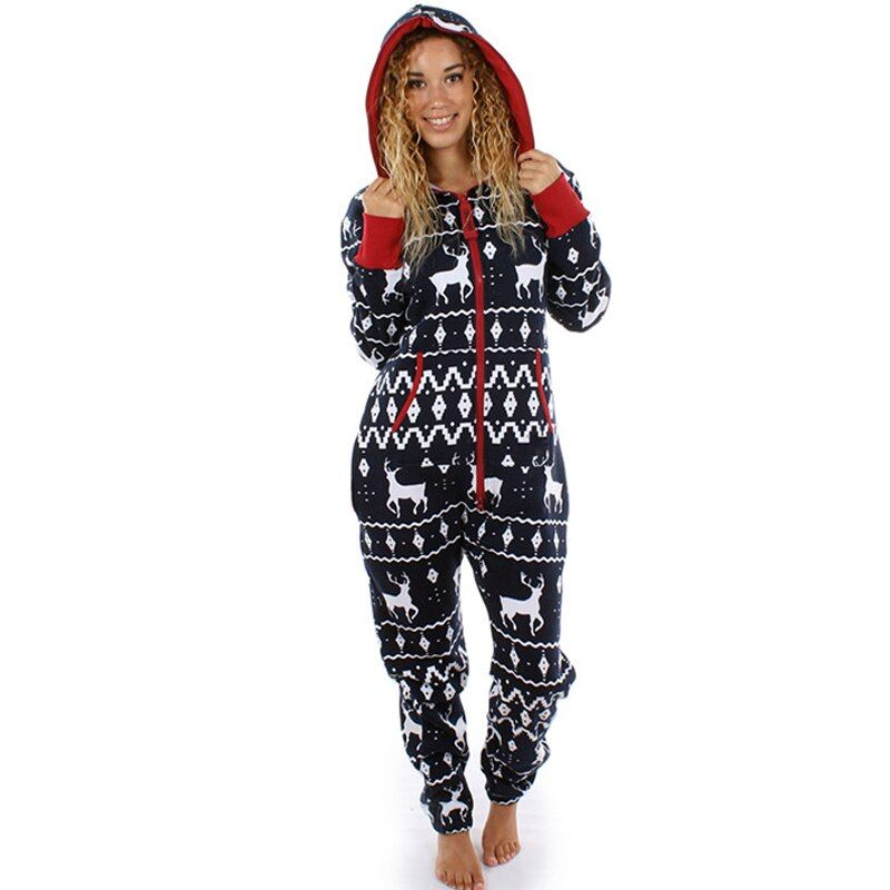 Christmas Pajamas Hoodies Jumpsuits Long Sleeve Bodycon Hooded Long Pants Rompers Overalls New Women Loose One Piece Outfits
