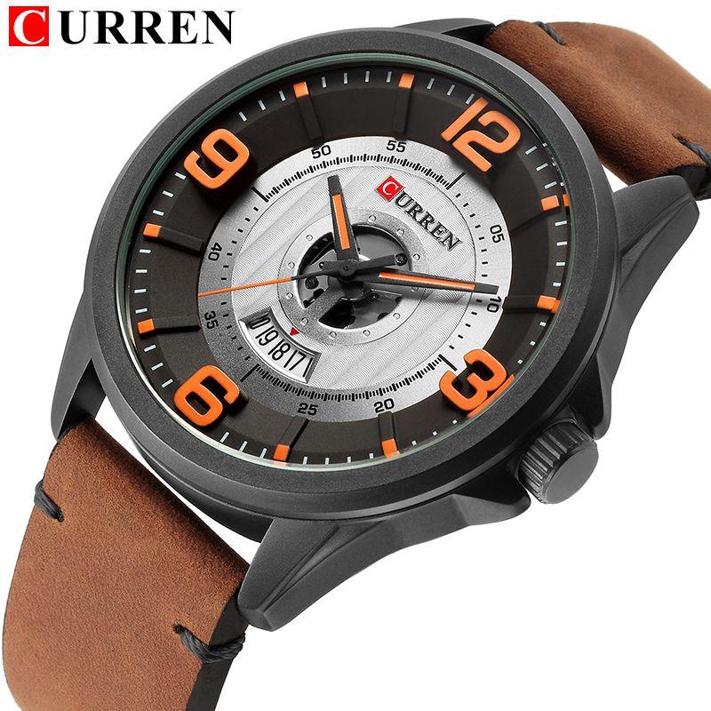 2018 CURREN fashion top new Luxury Brand Relogio Masculino week Date diaplay Leather strap Men Sports Watches Quartz Clock 8305