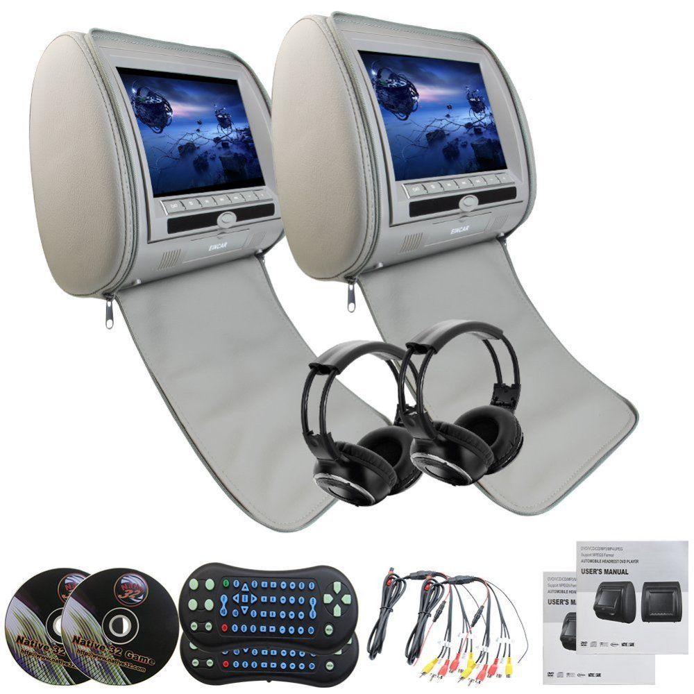 Eincar Gray Pair of Headrest DVD Player Monitors 9'' DVD USB SD VIDEO Monitors Region Car Dvd Headrests Player+ 2 IR Headphones