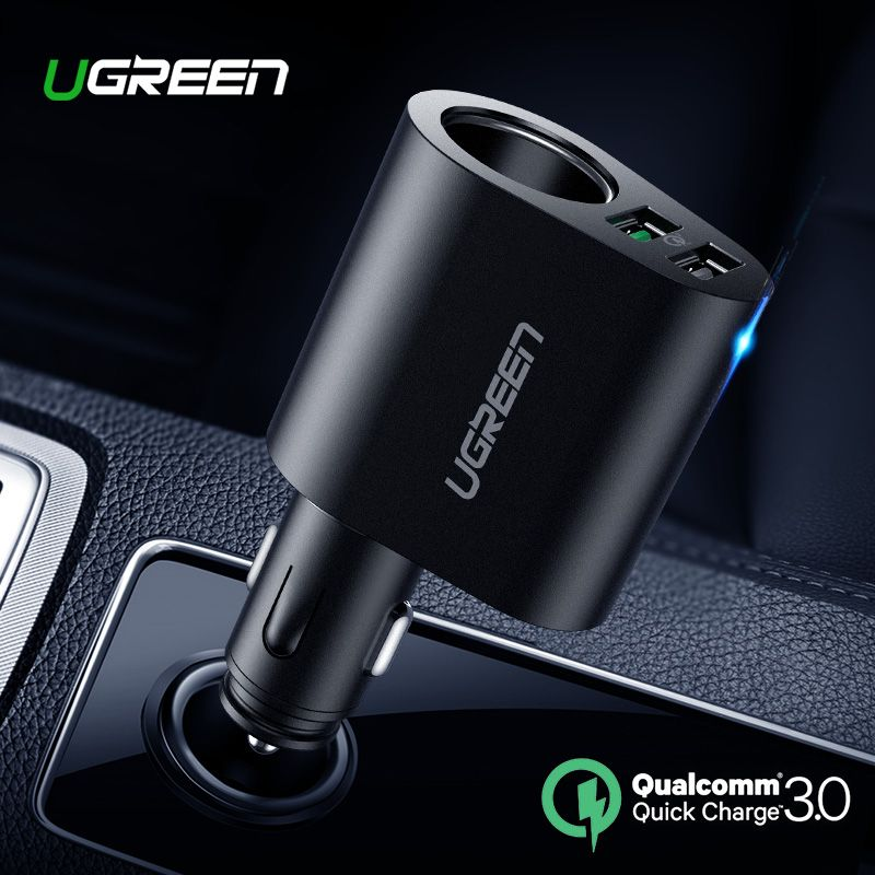 Ugreen Car Charger Adapter 60W Dual USB Quick 3.0 Charge USB Charger for iPhone X 8 Samsung Galaxy S9 S8 LG V20 USB Car Charger