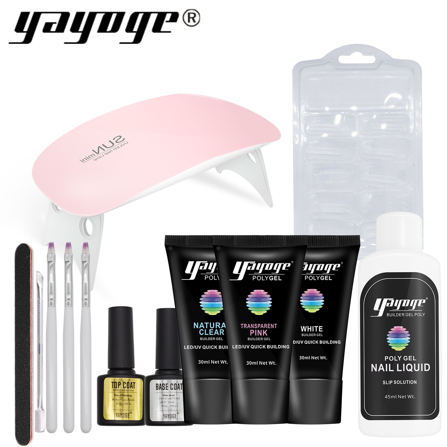 Poly Builder Gel Set nail extension varnish polish top base coat slip solution acrylic kits resin by led uv lamp tip Enhancement