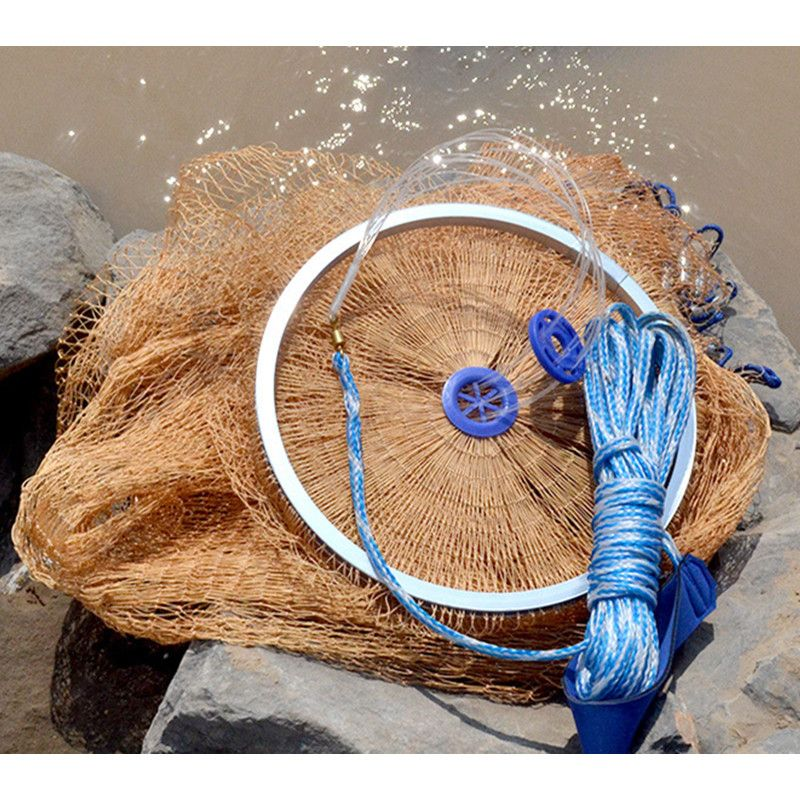 New 2.4-4.2M Catch Fishing Net American Style Cast Net Small Mesh Outdoor Sport Hunting Hand Throw Fishing Network Tool
