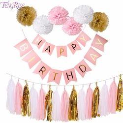 FENGRISE Rose Joyeux Anniversaire Bannière Blanc Papier de soie Gland Guirlande Pompon D'anniversaire Décorations Fille Garçon Enfants Cotillons