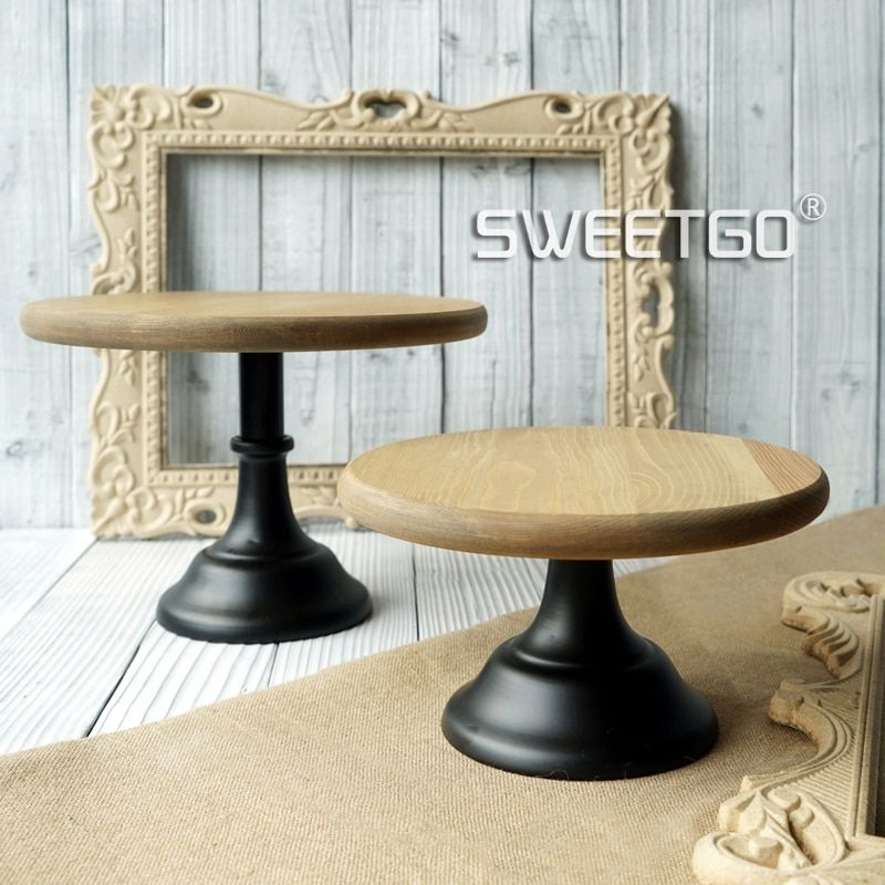 Wood cake accessory metal base cake stand display tray wedding party table decoration supplier cake accessory cookie tools