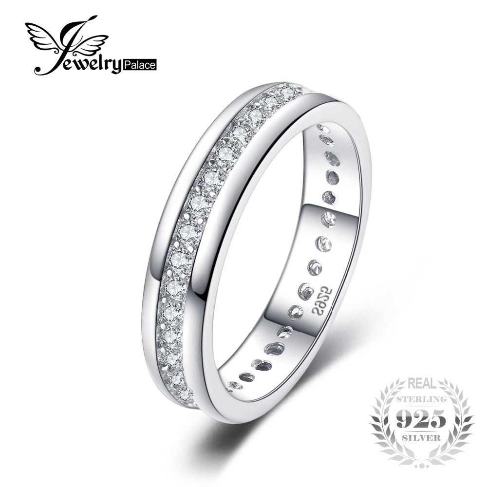 JewelryPalace Classic Band Wedding Ring Real 925 Sterling Silver Jewelry Birthday Present for Girlfrien Fashion Fine Gift