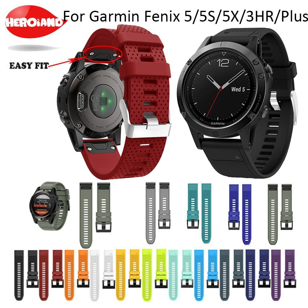 26 22mm 20mm Quick Release Strap for Garmin Fenix 5X/3/3HR Band Sport Silicone Watchband Easy Fit for Fenix 5S 5/Forerunner 935