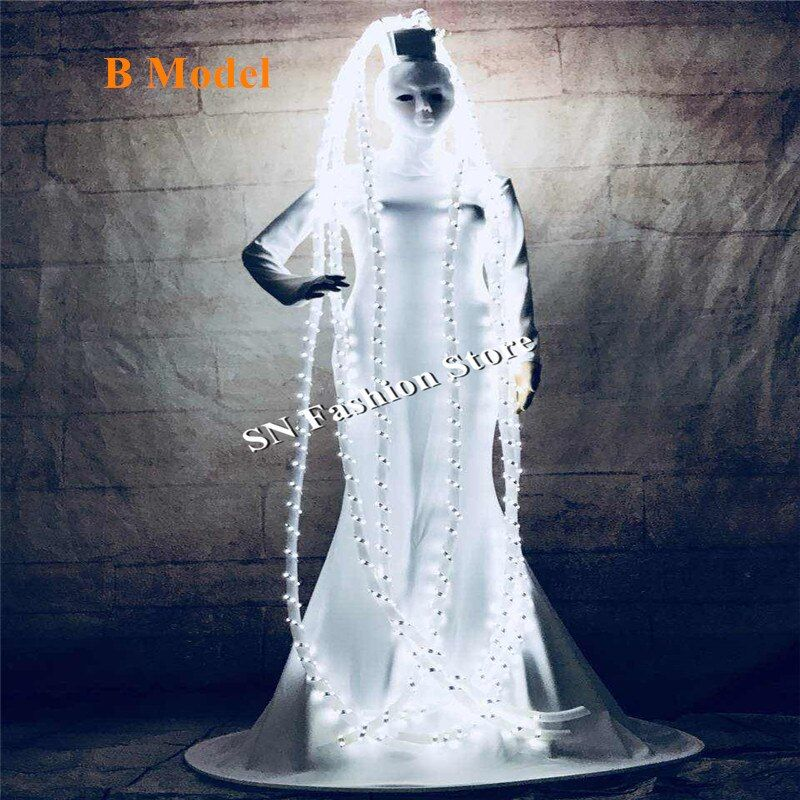 MD8 Ballroom dance costumes led costume stage catwalk singer wears party women dresses dj hair cosplay clotheswhite led light