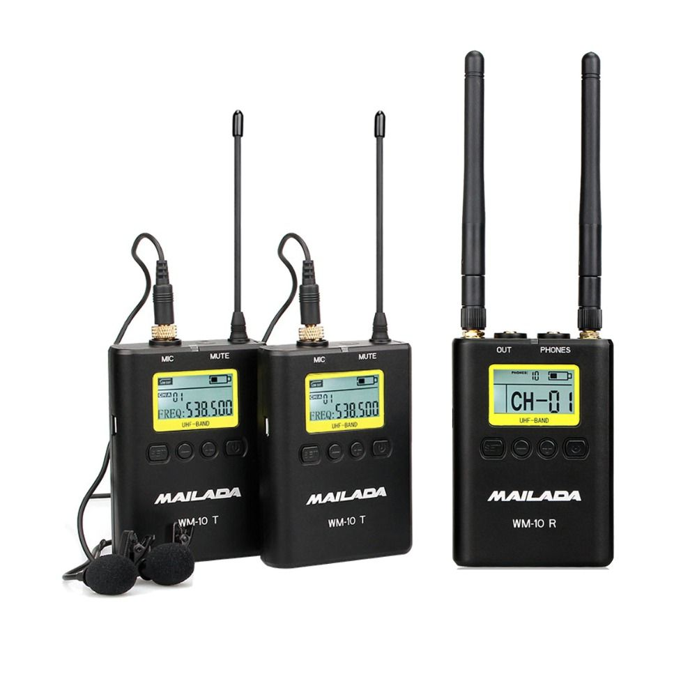 WM-10 Professional UHF Wireless Microphone System Lavalier Lapel Mic Receiver + Transmitter for DSLR Camcorder Recorder