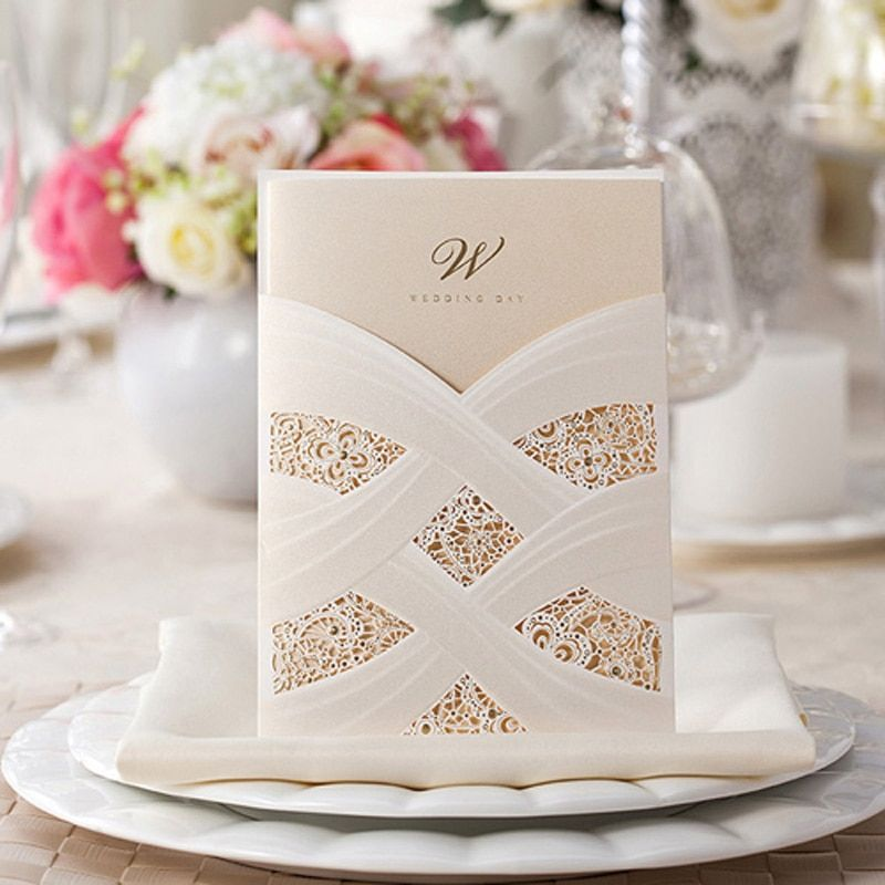 50pcs White Hollow Wedding Invitation Card Greeting Card Postcard Customize Printing Laser Cut Wedding Event Party Supplies