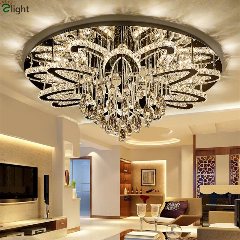 Moderne Fernbedienung Dimmbare Led Kronleuchter Lustre K9 Cristal Edelstahl Chrome Led Decke Kronleuchter Luxus Foyer Licht