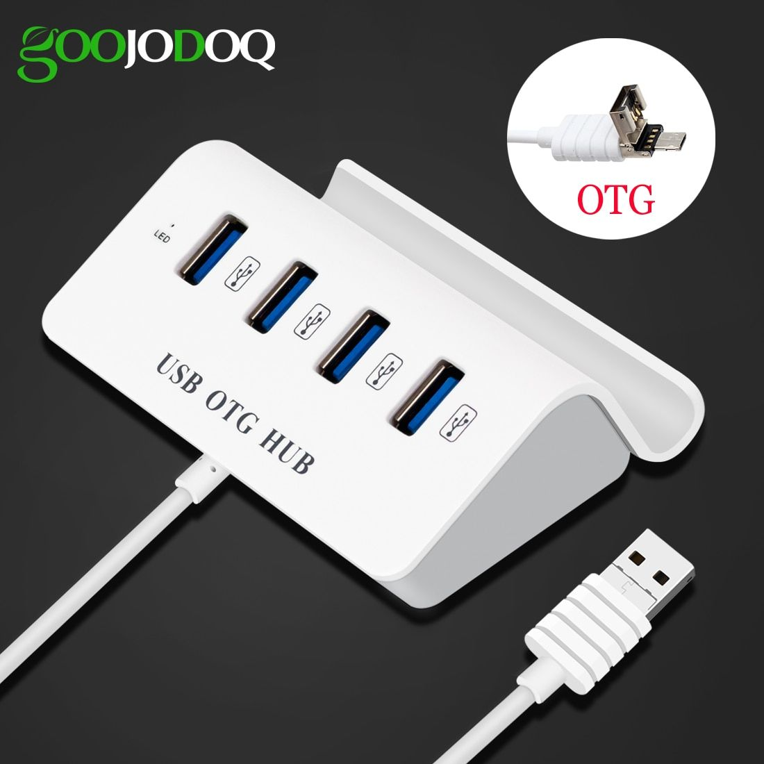 2 in 1 4 Port Micro USB Hub High Speed OTG Hub Multi USB Splitter for Samsung Xiaomi Andriod Phone Macbook PC with Phone Holder