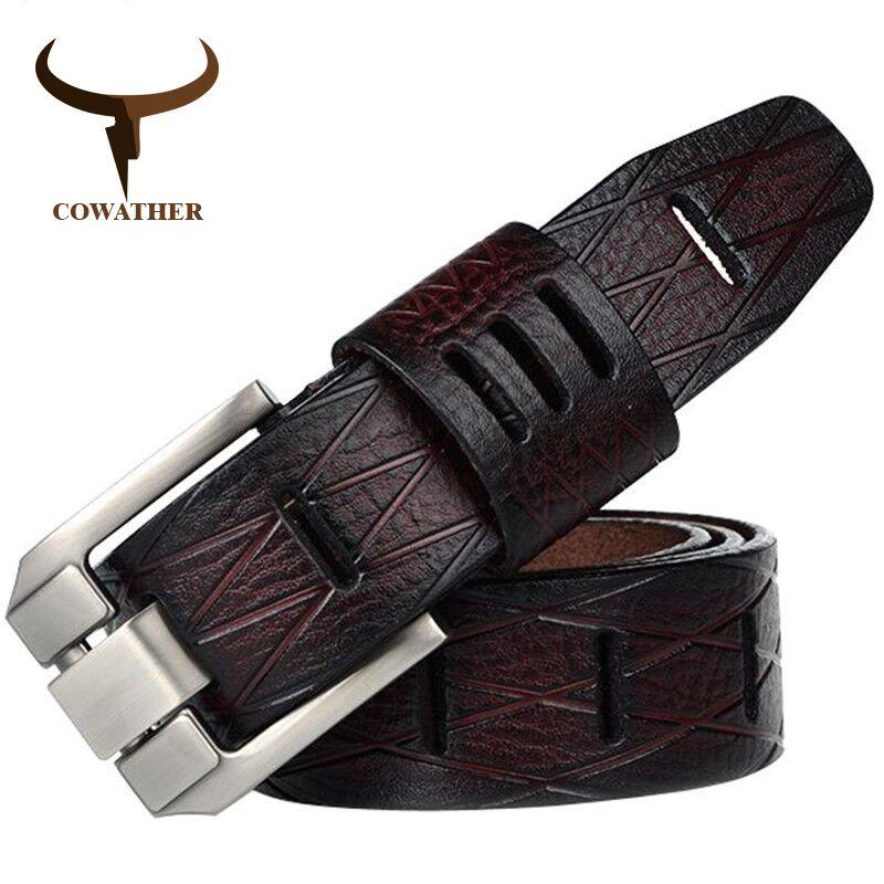 COWATHER 2017 QUALITY cow <font><b>genuine</b></font> luxury leather men belts for men strap male pin buckle BIG SIZE 100-130cm 3.8 width QSK001