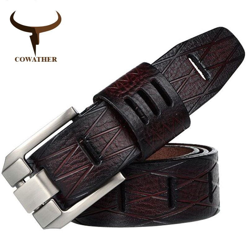 COWATHER 2017 QUALITY cow genuine luxury leather men belts for men strap male pin buckle BIG SIZE 100-130cm 3.8 width QSK001