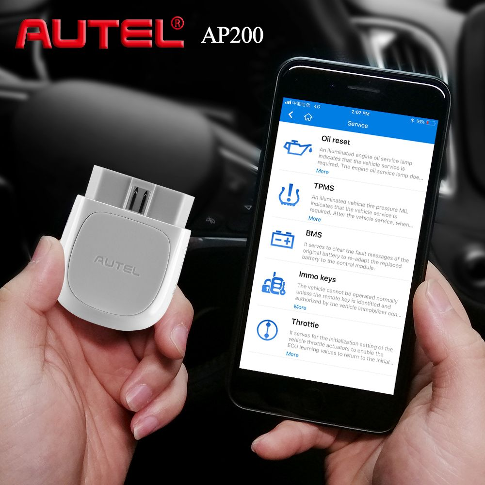 Autel AP200 OBD2 Scanner Bluetooth Code Reader Full System-Diagnose-Tool AutoVIN EPB BMS SAS TPMS DPF IMMO PK MaxiCOM MK808