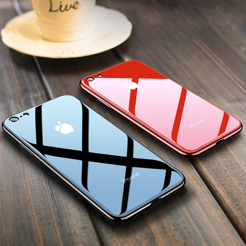 Phone Case For iPhone X 6 6S 7 8 Plus TPU silicone soft edge protection shell personality shatterproof tempered glass back cover