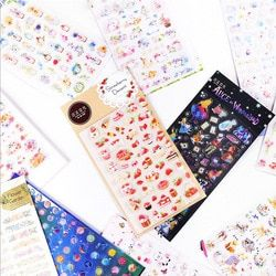 Creative food star cat flamingo Planet Alice Decorative Stationery Stickers Scrapbooking DIY Diary Album japanese Stick Lable