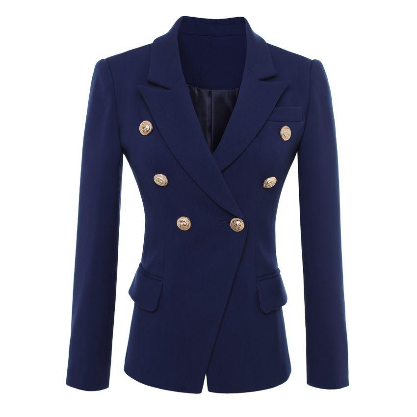 HIGH QUALITY New Fashion 2017 Designer Blazer Jacket Women's Gold Buttons Double Breasted Blazer Outerwear size S-XXL