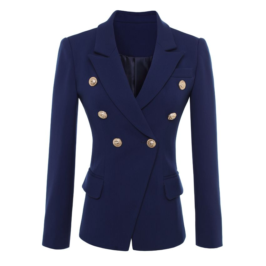 HIGH QUALITY New Fashion 2018 Designer Blazer Jacket Women's Gold Buttons Double Breasted Blazer Outerwear size S-XXL