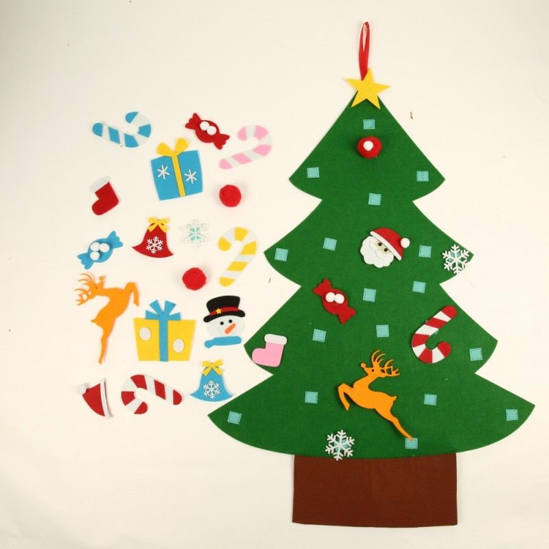 Kids DIY Felt Christmas Tree with Ornaments Children Christmas Gifts for New Year Door Wall Hanging Xmas Decoration 2018