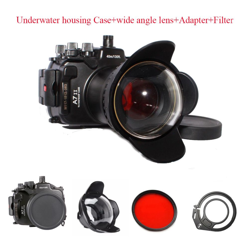 40M/130ft Waterproof Camera Housing Case For Sony A7 II, A7r II, A7s II Underwater housing Case+wide angle lens+Adapter+Filter