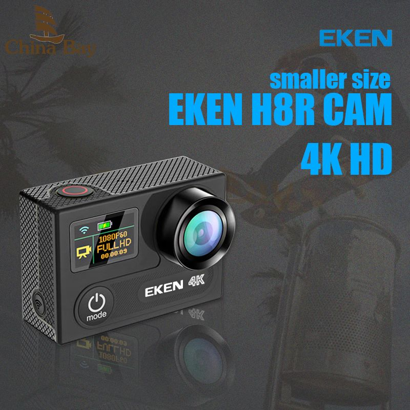 Original EKEN H8R PLUS Ultra HD Action Camera with 4K <font><b>30FPS</b></font> Resolution and 30m waterporoof 2.0 Screen cam go sport Camera pro