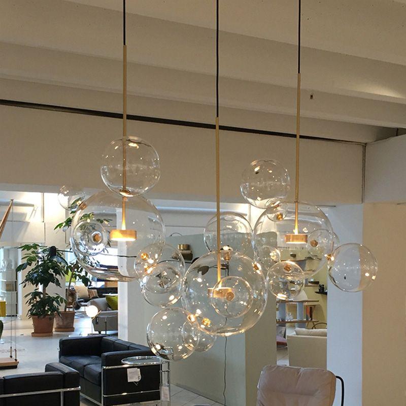 Post-Moderne Bolle Led Pendentif Lumière En Verre Clair Savon Bulle Balle Appareils Éclairage Intérieur Lustre luminaria Lampe Suspendue