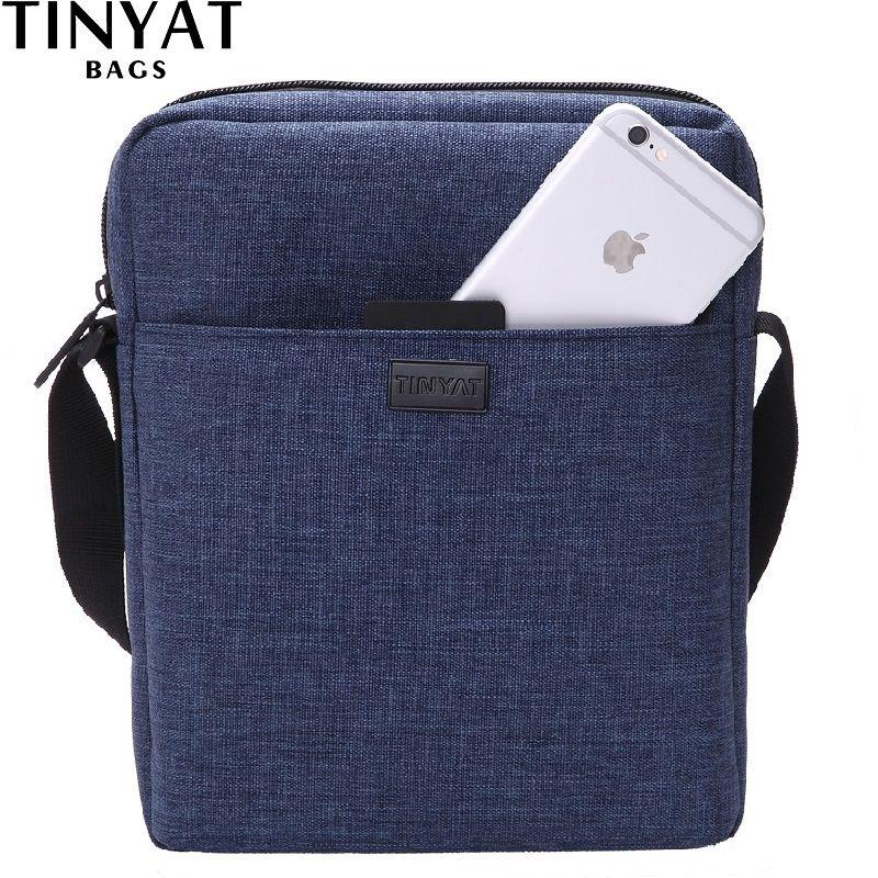 TINYAT Men Handbag Bag New Male Men's Shoulder Bag For Ipad Canvas Crossbody Bag Light Waterproof Messenger Bag Casual Blue 510