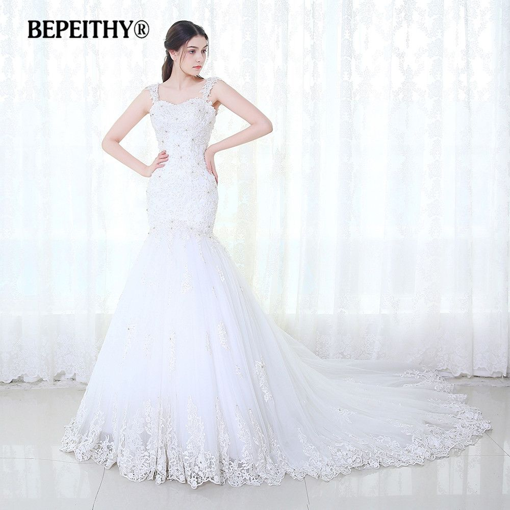 BEPEITHY Meerjungfrau Hochzeit Kleid Vestidos De Novia 2019 Spitze Vintage Perlen Luxuriöse Brautkleider Gericht Zug Heißer Verkauf