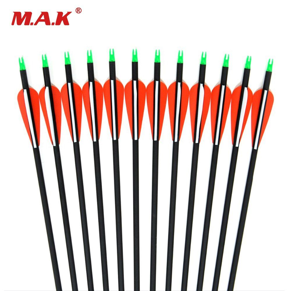 New Carbon Arrow 12pcs 30 Inches Archery Arrows Spine 500 Changeable Arrowheads Plastic Feathers for Hunting Compound Bow Arrows