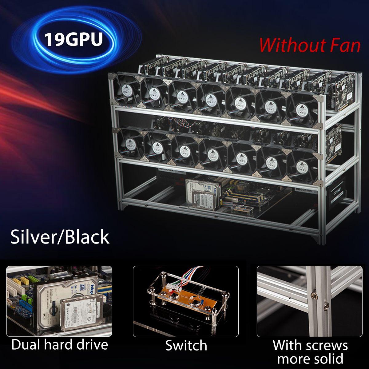 19 GPU Open Pit Mining Rig Mining Rig Aluminum Stackable Case Open Air Frame ETH/ZEC/Bitcoin