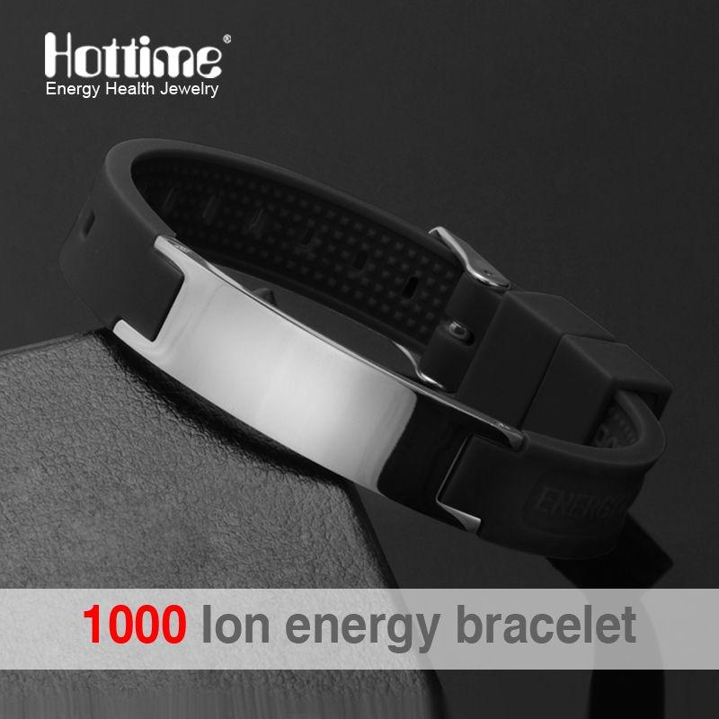 Noir (couleur) puissance Bracelet En Silicone 4 En 1 Bio Elelents D'énergie Magnétique Bracelet Pour Hommes Poignet Bande Garder L'équilibre Bracelets