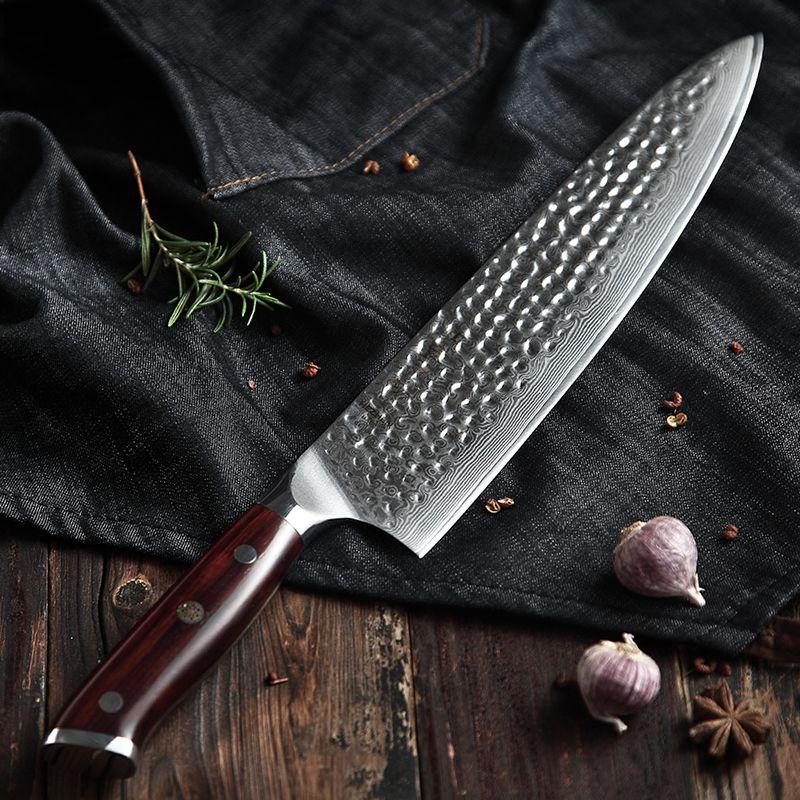 HEZHE 10 ''zoll Chef Messer Japan VG10 Damaskus Stahl Fisch Fleisch Carving Schneiden Messer Madagaskar Dalbergia Griff