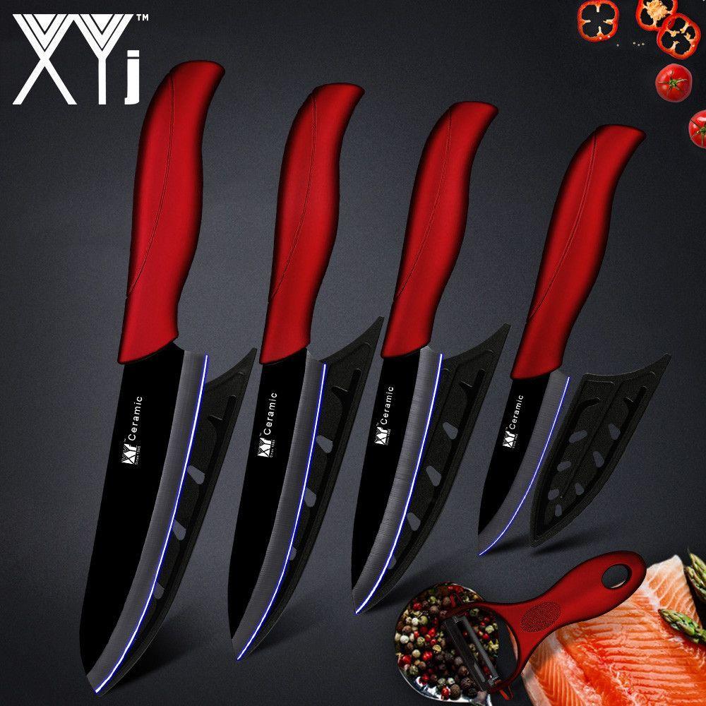 XYj couteau de cuisine couteau en céramique outils de cuisson Set 3 4 5 pouces + éplucheur blanc et noir lame Paring fruits Vege outils de cuisine