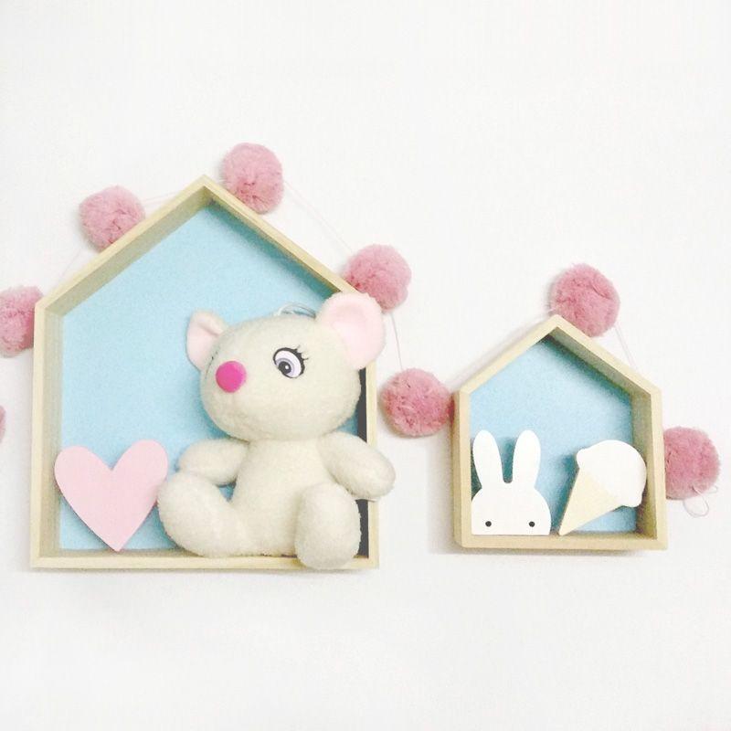 Style nordique en bois maison cadre enfants chambre décoration boîte tenture murale mallette de rangement étagère en bois enfants chambre décor