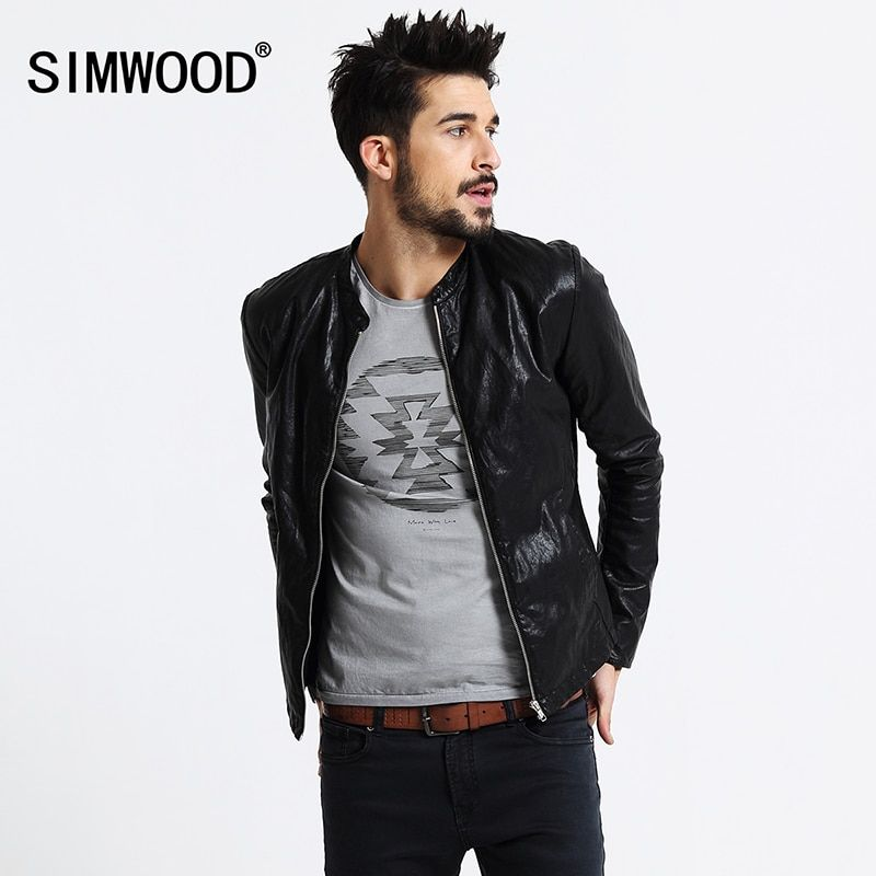 SIMWOOD Brand <font><b>Motorcycle</b></font> Leather Jackets Men Spring Winter Clothing Men Leather Jackets Male Casual Coats Free Shipping PY2501