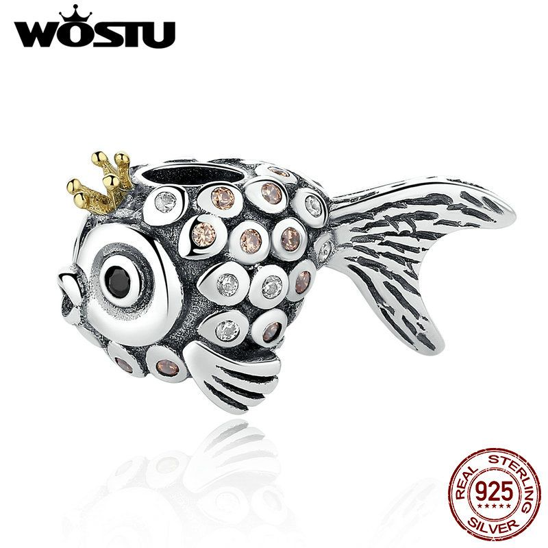 100% Real 925 Sterling Silver Delicate Goldfish Charm Beads Fit Original WST Bracelet Pendant Authentic DIY Jewelry Gift