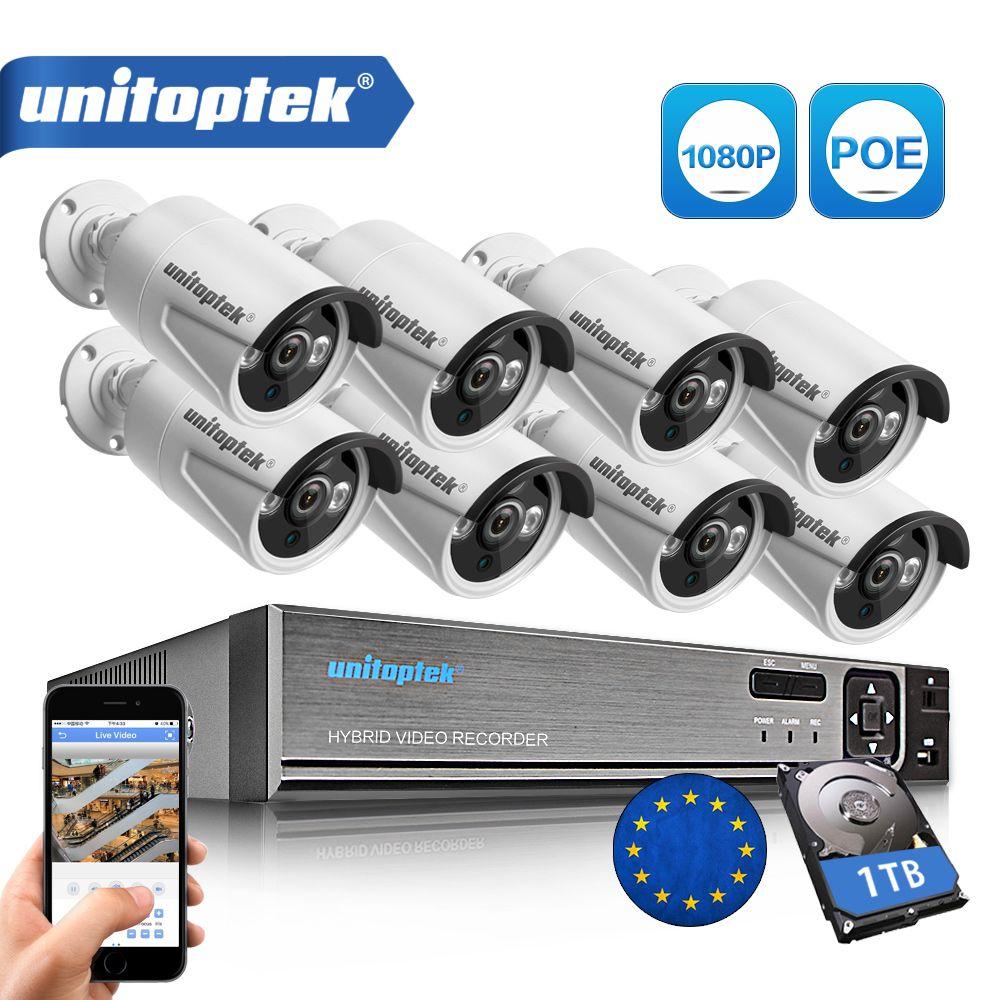 4CH / 8CH 1080P 48V POE NVR 2.0MP 3000TVL Night Vision POE IP Camera CCTV System Plug and Play Video Surveillance Kit APP XMEye