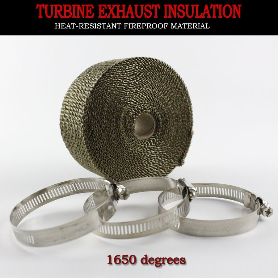 KOWELL Exhaust Pipe Wrap Bandage Header Heat Wrap Resistant Downpipe Stainless Steel Ties 10mx5cm for Car Motorcycle