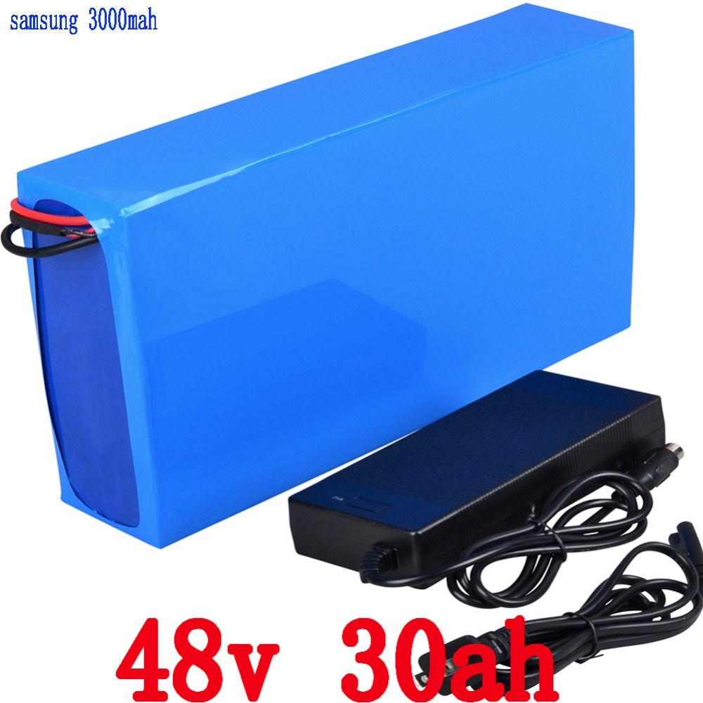 Free Shipping 48V 30AH 2000W Lithium electric bike Battery use for Samsung 3000mah cell with 54.6V 2A Charger and 50A BMS
