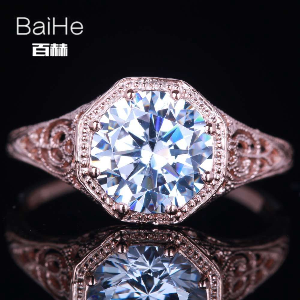 BAIHE Solid 14K Rose Gold(AU585) 1.7CT Certified 100% Genuine AAA Graded Cubic Zirconia Flawless Party Women Fine Jewelry Ring