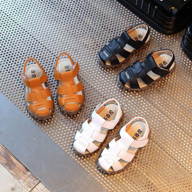 Sandales en cuir garçons 2019 100% souple en cuir en été les nouveaux garçons et filles enfants chaussures de plage enfants sandales de sport princesse s