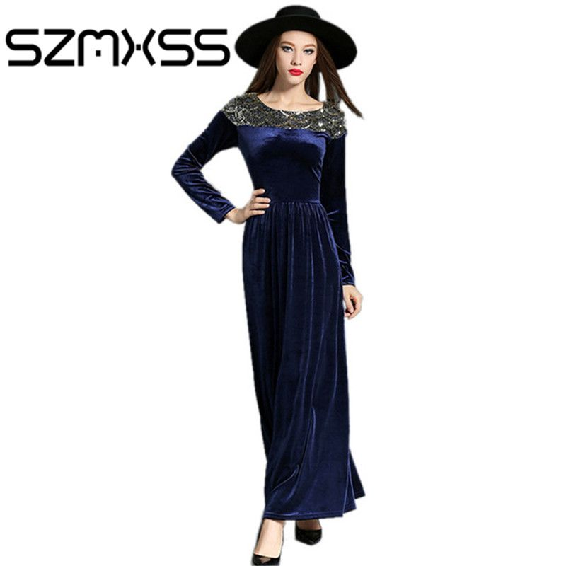 2016 Autumn Winter Dresses Women Velvet Dress Long Sleeve Vintage Sequined Maxi Dresses Evening PartyBlack Blue Vestido Longo