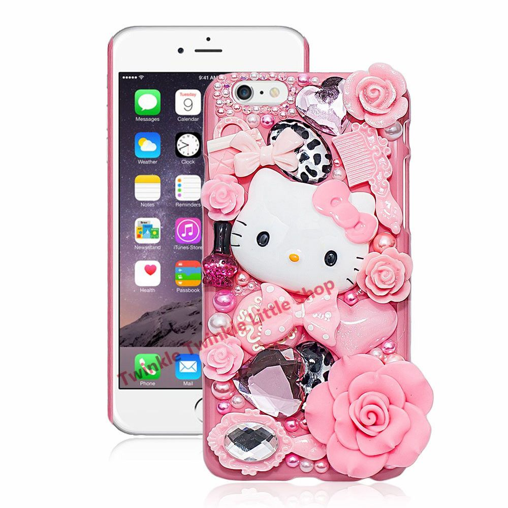 Cute Hello Kitty Crystal Pearl 3D Case For iPhone Hard Back Cover Phone Cases For apple iphone For iphone X